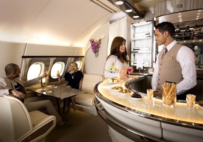 Emirates Airlines new onboard lounge in First Class